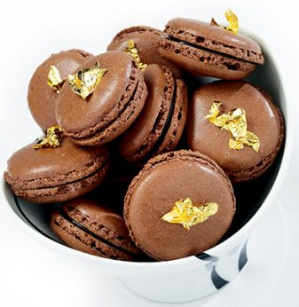 Chocolate Macaroons with Gold Leaf Thermomix