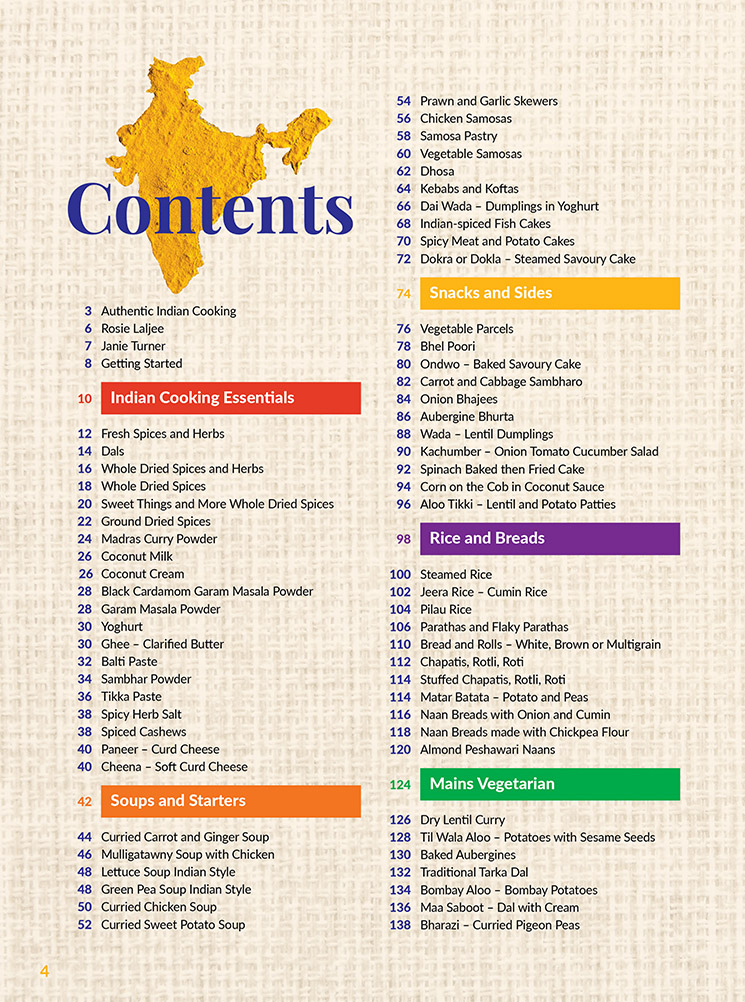 Fast and Easy Indian Cooking Thermomix Cookbook Contents page 1